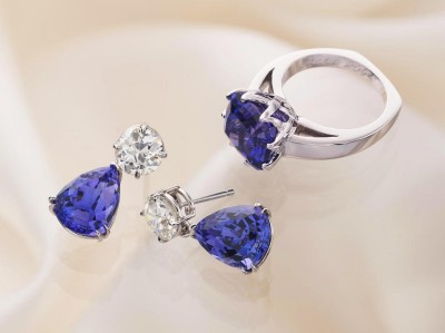 Cynthia Renee Custom Jewelry Design diamond studs Tanzanite drops earrings
