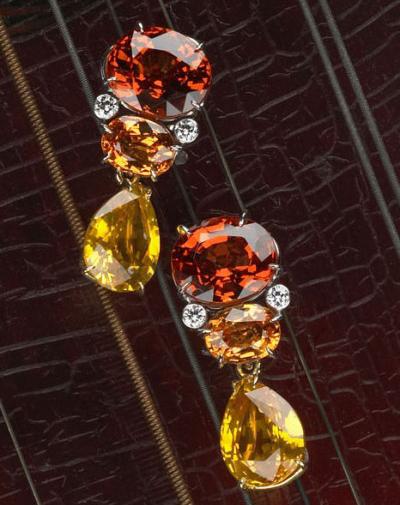 Cynthia Renee Custom Jewelry Design Spessartite Garnets Golden Sapphire drops earrings