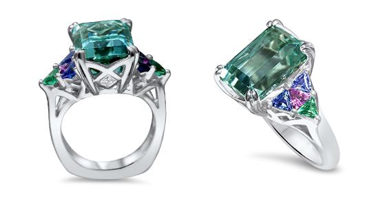 Cynthia Renee Custom Design Blue Afghani Tourmaline Ring Colored Gems Final Ring