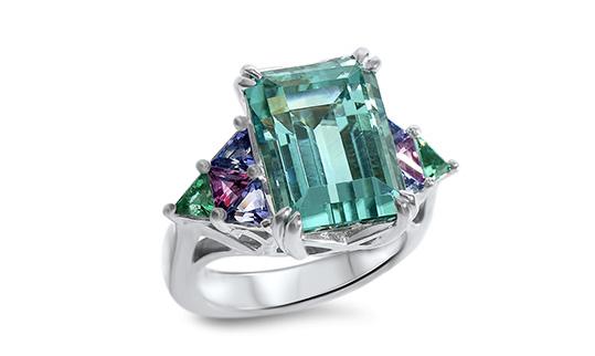 Blue Afghani Tourmaline Ring Colored Gems Palladium Custom Design