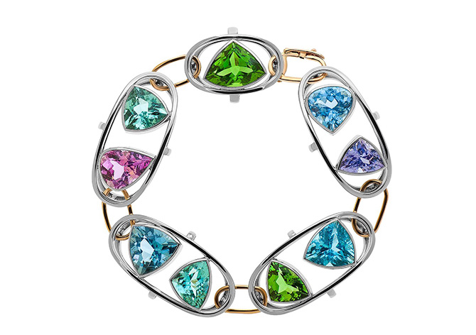 Cynthia Renee Gem Collecting Bracelet Cuprian Tourmaline Gems Palladium Rose Gold Final Custom Jewelry Design