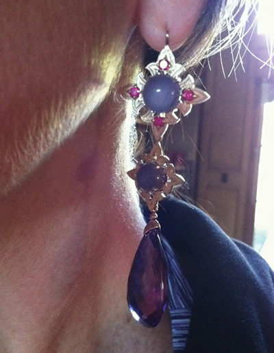 Custom designed Spanish purple drop earrings jewelry by Cynthia Renee