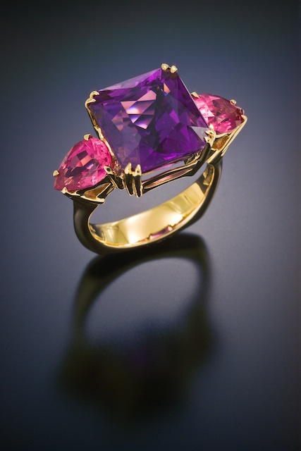 Gold Gem Stone Ring Cuprian Tourmaline Purple Red Spinel