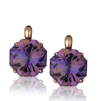 """Origami"" earrings in 14 karat rose gold featuring pair of 25.36 carat hand-cut, Ametrine in the Cynthia Renée Origami-cut."