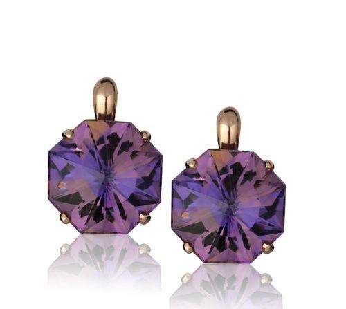 """Origami"" earrings in 14 karat rose gold featuring pair of 25.36 carat hand-cut, Ametrine in the Cynthia Renée Origami-cut."
