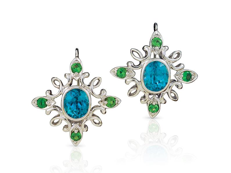 cynthia-renee-blue-zircon-tsavorite-calligraphy-inspired-progressive-pearls-earrings