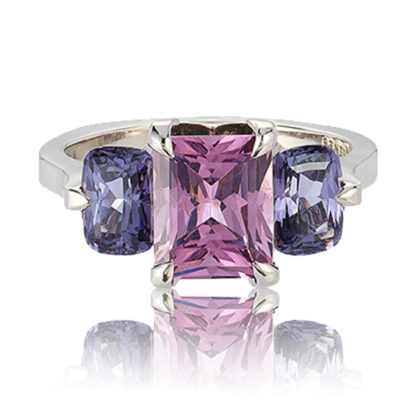 """Oslo"" 3-stone ring in palladium featuring 1.90 carat Rose Spinel accented by 1.85 carat pair of Blue Spinel"