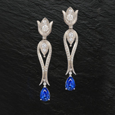 Boldly Blue!  Creating 32 Earring Looks from one New Pair of Custom Jewelry Earrings