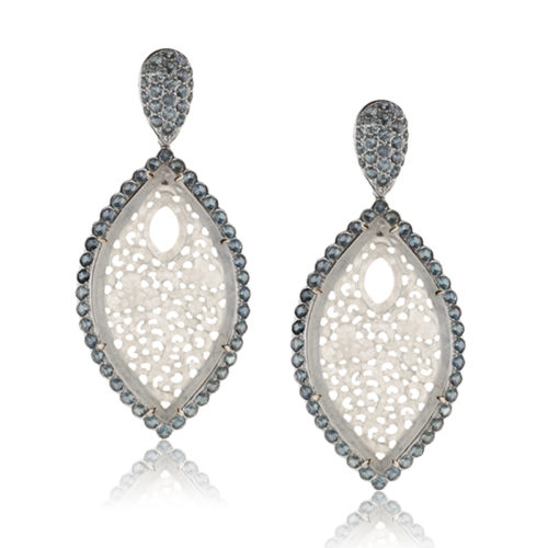 Drop Earrings in 18 karat blackened white gold featuring 18.27 carats pair of hand-carved, natural Icy White Jade accented by 200 pieces Green Sapphire weighing 7.17 carats; post w/ friction nut.