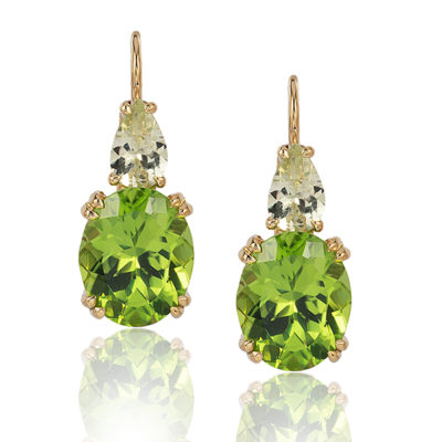 """Swan Neck"" earrings in 18 karat yellow gold featuring 7.44 carat pair of Peridot accented by 1.18 carat pair of Chrysoberyl; ""swan-neck"" wires with locking backs."