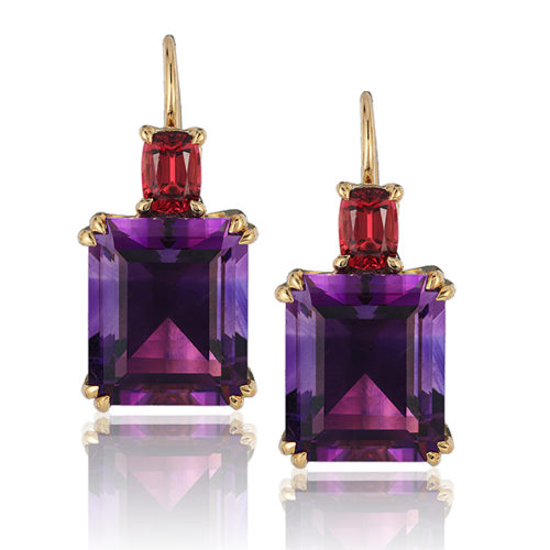 """Swan Neck"""" earrings in 18 karat yellow gold featuring 11.10 carat pair of fine Amethyst accented by 0.86 carat pair of Burmese Red Spinel."""