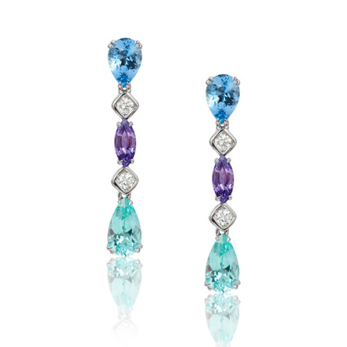 """""""Gem Garland"""" drop earrings in 18 karat white gold featuring 1.76 ct. Aquamarine; 2.58 cts. of rare Cuprian (Paraiba) Green Tourmaline; 1.10 cts. Purple Sapphire accented by 0.35 ct. of fine, white diamonds."""
