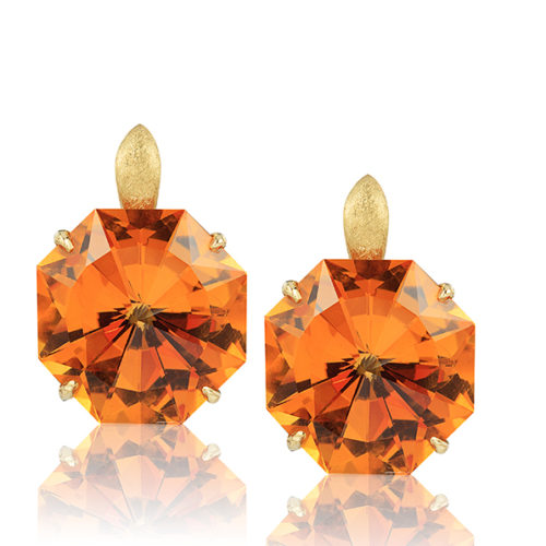 """""""Origami"""" earrings in 18 karat yellow gold featuring pair 28.40 carat hand-cut, Citrine; post with friction back."""