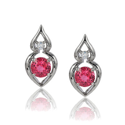 """Pantea"" earrings in palladium featuring 2.67 ct. pair of electric Red Spinel accented by 0.15 cts. fine round diamonds; post with friction back. Tail on back supports drop."