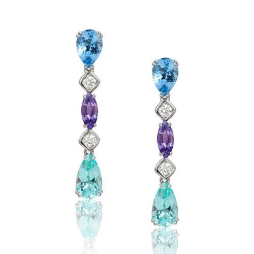 """Gem Garland"" drop earrings in 18 karat white gold featuring 1.76 carats Aquamarine; 2.58 carats of rare Cuprian (Paraiba) Green Tourmaline; 1.10 carats Purple Sapphire accented by 0.35 carats of fine, white diamonds."