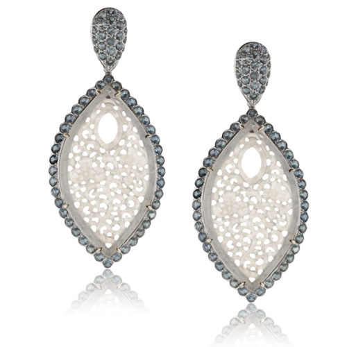 Drop Earrings in 18 kt white gold featuring 18.27 ct. pair of hand-carved, natural Icy White Jade accented by 200 pieces Green Sapphire weighing 7.17 cts; post w/ friction nut.