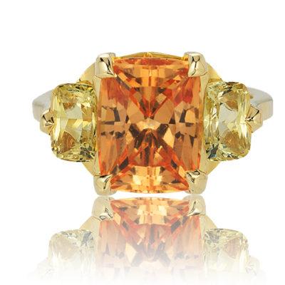"Hessonite Garnet & Chrysoberyl ""Oslo"" Ring"