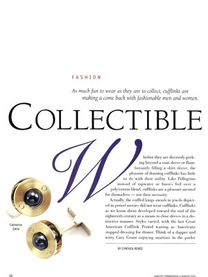 Jewelry Connoisseur Magazine Article Winter 2003- Collectible Art-Cufflinks