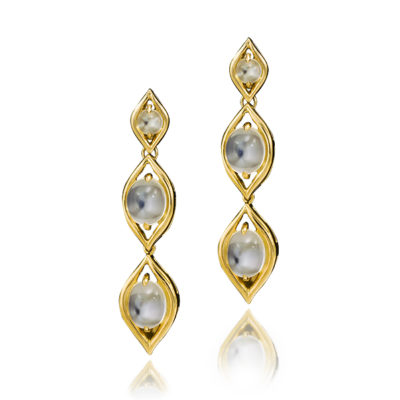 "Moonstone ""Triple Drop"" Earrings"