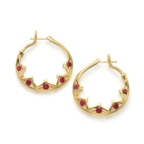 """Red Spinel """"Scallop"""" Hoop Earrings """"Pantea"""" hoop earrings in 18 karat yellow gold featuring 1.50 carats of Burmese Red Spinel; post with omega back."""