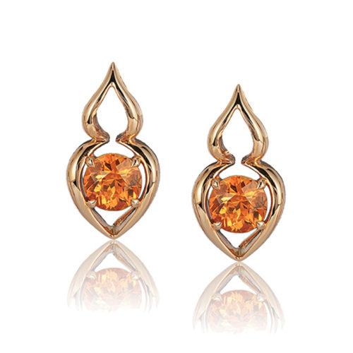 """Pantea"" earring in 18 karat rose gold featuring 2.64 carats pair Spessartite Garnet; post with friction back."