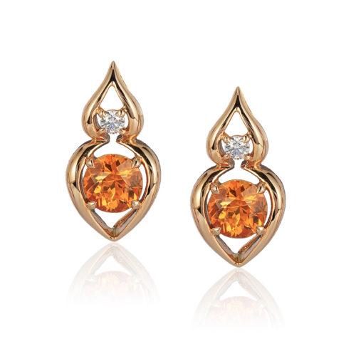 """Pantea"" earring in 18 karat rose gold featuring 2.64 carats pair Spessartite Garnet accented by 0.15 carats pair of fine round diamond pair"