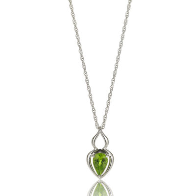 """Pantea"" pendant in 18 karat white gold featuring 1.15 carat pear-shaped Peridot on 18-inch, 14-karat white gold rope chain. Peridot is a birthstone for August."