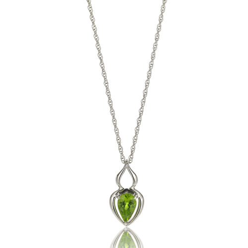 """""""Pantea"""" pendant in 18 karat white gold featuring 1.15 carat pear-shaped Peridot on 18-inch, 14-karat white gold rope chain. Peridot is a birthstone for August."""