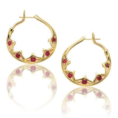 "Red Spinel ""Scallop"" Hoop Earrings"