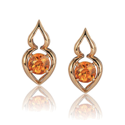 """Pantea"" earring in 18kt rose gold featuring 2.64 ct. pair Spessartite Garnet; post with friction back. Tail on back supports drop."