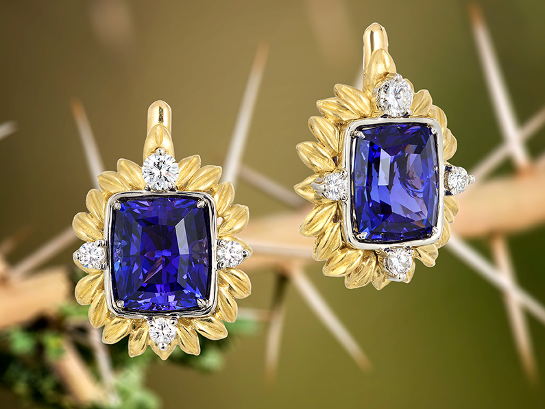 Blue Tanzanite Gold Earrings Custom Jewelry Design - Final Set