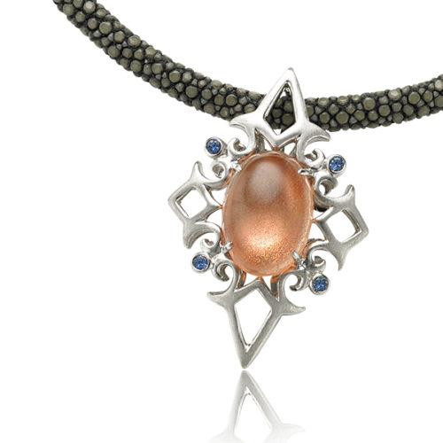 Sunstone & Sapphire Jeweled Pendant