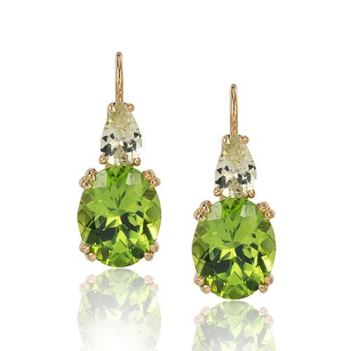 """Swan Neck"" earrings in 18 karat yellow gold featuring 7.44 carat pair of Peridot accented by 1.18 carat pair of Chrysoberyl."