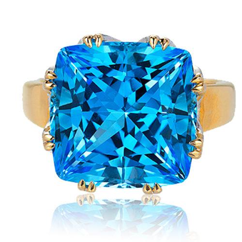 """""""Trellis"""" ring featuring 32.37 ct. Blue Topaz set in 18 karat white gold basket with 18 karat rose gold shank."""