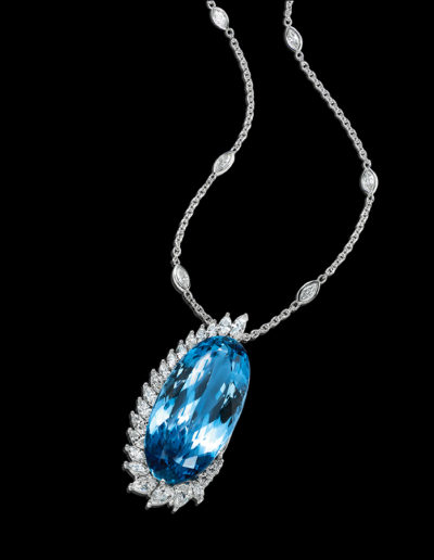 """A Gift from the Sea"" ~ Cynthia Renée necklace featuring customer's extra-fine 60.19 carat Aquamarine set with 5.38 carats of diamonds in platinum."