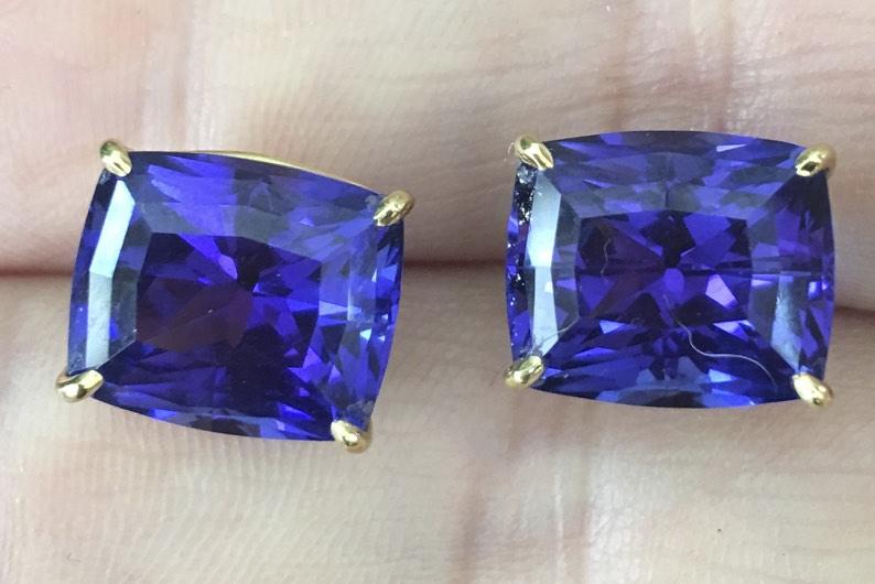 Blue Tanzanite Gold Earrings - Before Custom Jewelry Design