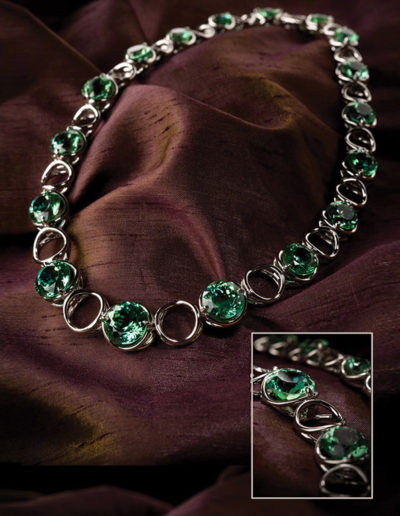 "Cynthia Renée ""Round in Round"" necklace featuring almost eighty carats of ""Seafoam"" Tourmaline (Afghanistan) in hand-fabricated palladium."
