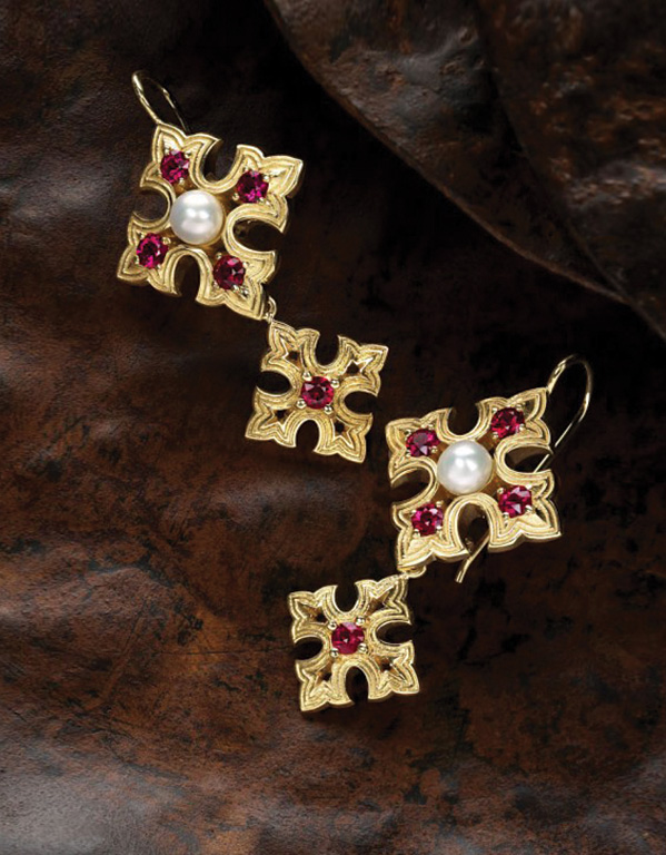 valentine-earrings-by-cynthia-renee- earrings-featuring-round-rubies-freshwater pearls-set-in-yellow-gold