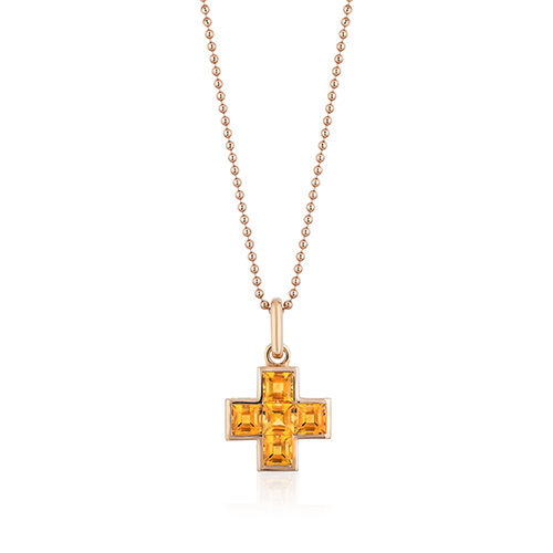 Gem-set cross pendant featuring five (5) square 5-mm Citrine (H) weighing a total of 3.06 carats and set in 18 karat rose gold with a clip-on bale. Clip the pendant on bracelet links and wear as a charm.