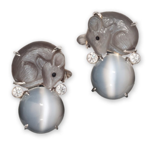 """Of Mice and Moonstone earring pair in 18-karat white gold from Cynthia Renée's award-winning """"Heart of a Woman"""" collection."""