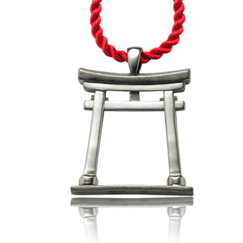 """""""Torii Gate pendant in blackened sterling silver with satin & polished areas for detail. This pendant is very dimensional and can ever stand up!"""