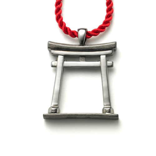 Torii Gate pendant in blackened sterling silver with satin & polished areas for detail.