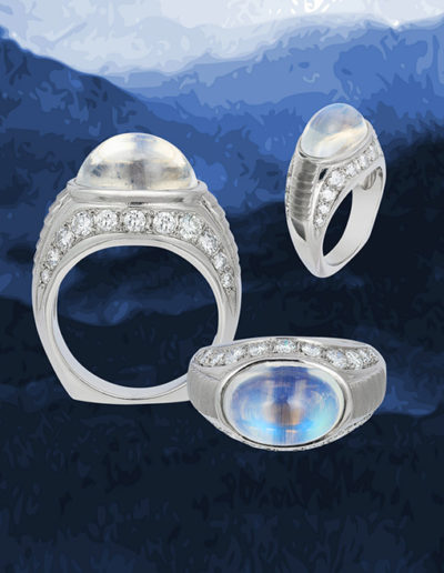 """Bella Blue"" ~ Cynthia Renée full custom design platinum ring featuring 6.76 carat ""blue sheen"" moonstone (India, natural color) accented by 11 round diamonds weighing a total of 1.05 carats. Photo by Moghadam."