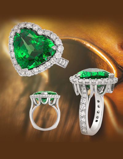 """Big Hearted"" ~ Cynthia Renée full custom design ring in platinum featuring 10.63 carat tsavorite garnet (Komolo, Tanzania) accented with 1.62 carats of diamond. Photo by Mogadham."