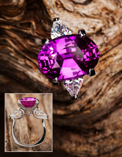 """Big Pink"" ~ Cynthia Renée full custom design ring hand fabricated in 950-platinum featuring 9.57 carat pink sapphire (Madagascar, natural color) accented by pair of 1.32 carat diamond pear-shapes. Photo by Jan Balster."