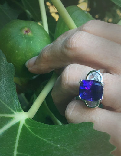 """Blue Moon"" ~ Cynthia Renée full custom design ring in 18-karat yellow gold featuring 8.70 carat Tanzanite set with pair of half-moon diamonds."