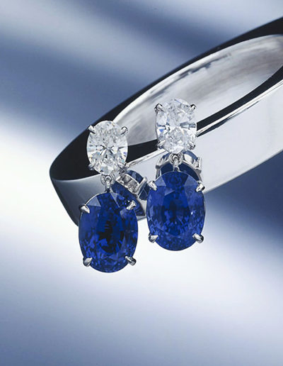 """Blue Sapphire & Diamond"" ~ Cynthia Renée custom earrings featuring over eighteen carat pair of unheated Blue Sapphire (Sri Lanka) and pair of oval diamonds (D/VVS1 and E/VVS1) set in hand-fabricated platinum."
