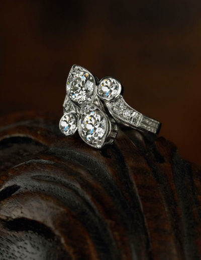 "Cynthia Renée ""Bridge"" ring featuring 2.54 carats of ""Old European"" cut diamonds set in hand-engraved and millgrained platinum. <a href=""http://cynthiarenee.com/bridge-ring-2/""> THE STORY</a>"