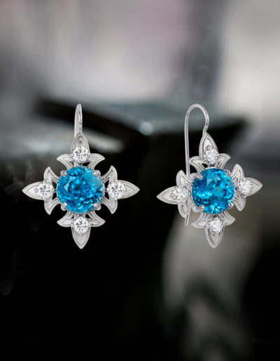 """Cherish"" ~ Cynthia Renée full custom design earrings in 14 karat white gold featuring 10.25 carats pair of blue zircon (Cambodia, heat) accented by 0.83 carats of diamonds.  Earrings can be worn with removable drops. Photo by Moghadam."