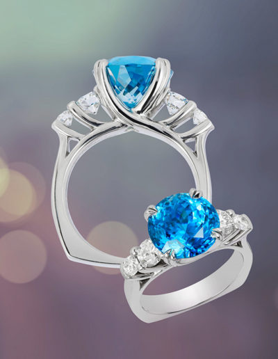 """Cherished Blue"" ~ Cynthia Renée full custom design ring in palladium featuring 12.33 carat blue zircon (Cambodia, heat) accented by 1.33 carats round diamonds. Photo by Moghadam."